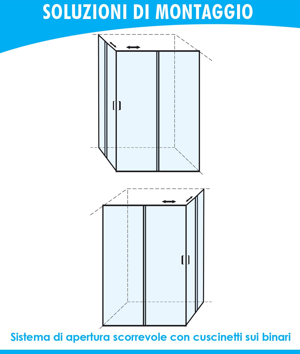 BOX BOX BOX DOCCIA ANGOLARE PORTA SCORREVOLE 100X115 CM OPACO 740ca1