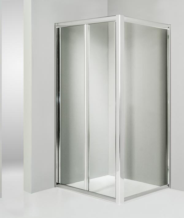 Box doccia angolare anta fissa porta soffietto 75x75 cm trasparente