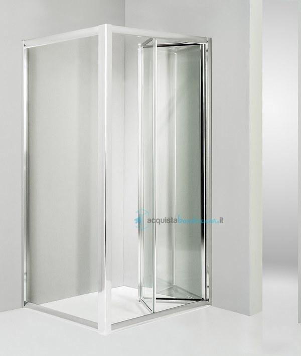 Vendita box doccia angolare anta fissa porta soffietto 80x70 cm trasparente - Costo sostituzione piatto doccia ...