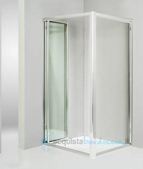 Box doccia angolare anta fissa porta soffietto 70x90 cm - Porta doccia pieghevole ...