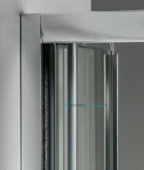 Box doccia angolare anta fissa porta soffietto 70x90 cm trasparente