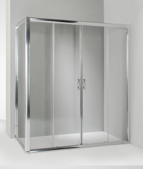 Box doccia angolare anta fissa porta scorrevole 85x170 cm trasparente