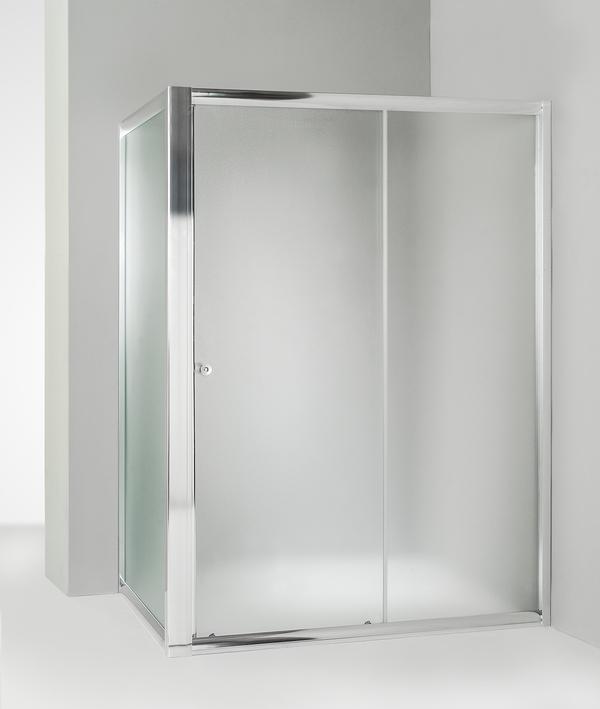 Box doccia angolare anta fissa porta scorrevole 95x130 cm opaco