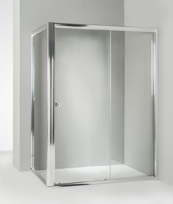 Box doccia angolare anta fissa porta scorrevole 65x140 cm trasparente
