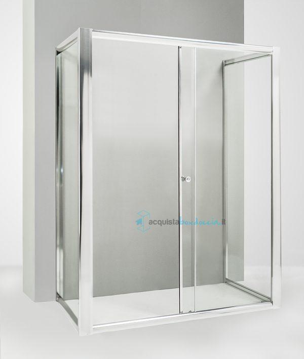 Vendita box doccia 3 lati con 2 ante fisse e porta for Porta finestra scorrevole 120 cm