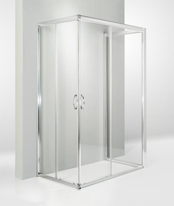 Box doccia 3 lati porta scorrevole 85x120x85 cm trasparente