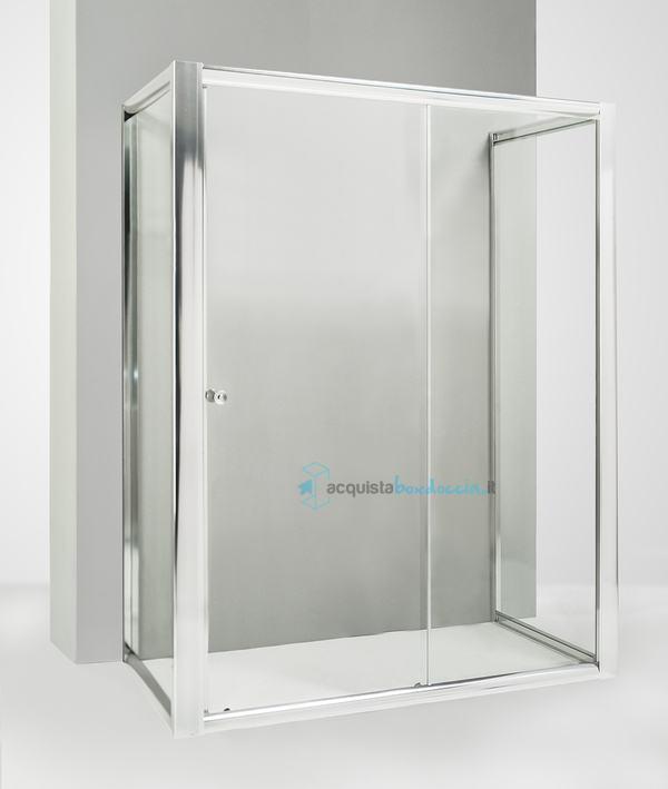 Box doccia 3 lati con 2 ante fisse e porta scorrevole 80x120x80 cm ...