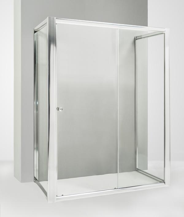 Box doccia 3 lati con 2 ante fisse e porta scorrevole 90x130x90 cm trasparente