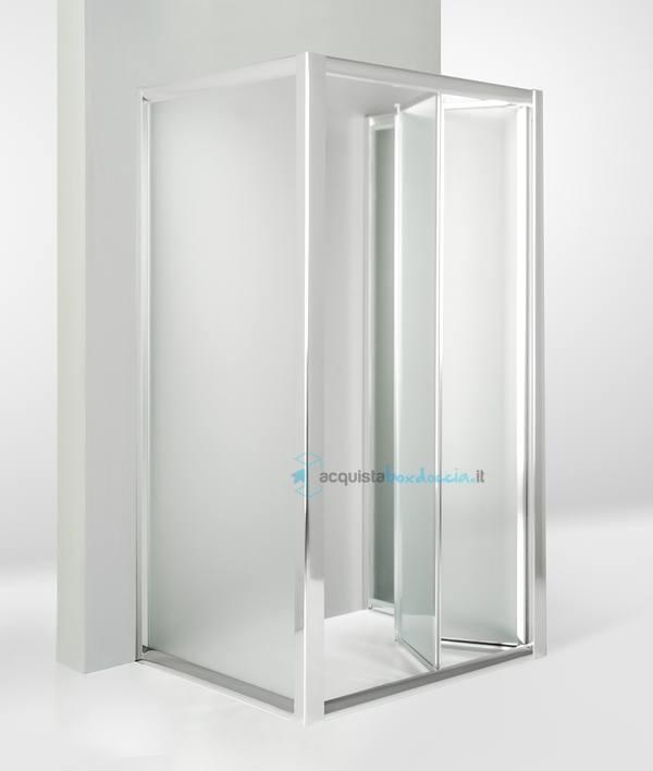 Vendita box doccia 3 lati con 2 ante fisse e porta a soffietto 70x70x70 cm opaco - Porta a soffietto costo ...