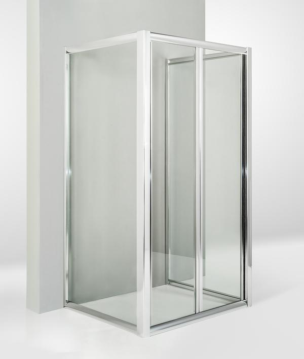 Box doccia 3 lati con 2 ante fisse e porta a soffietto 65x100x65 cm trasparente