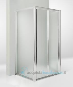 Box doccia 3 lati con 2 ante fisse e porta a soffietto - Porta doccia pieghevole ...
