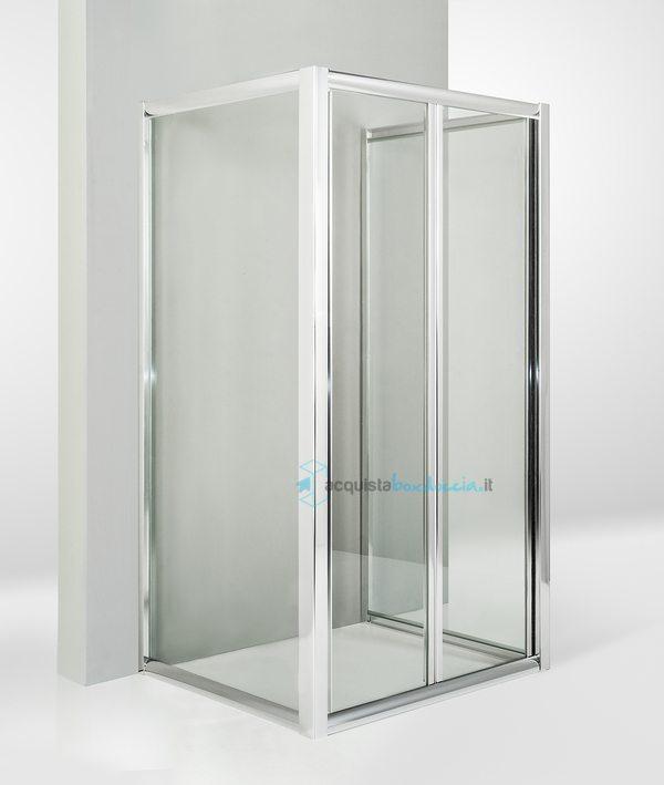 Vendita box doccia 3 lati con 2 ante fisse e porta a soffietto 60x100x60 cm trasparente - Porta a soffietto costo ...