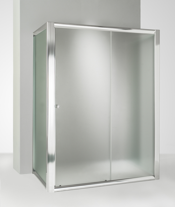 Box doccia 3 lati con 2 ante fisse e porta scorrevole 75x110x75 cm opaco