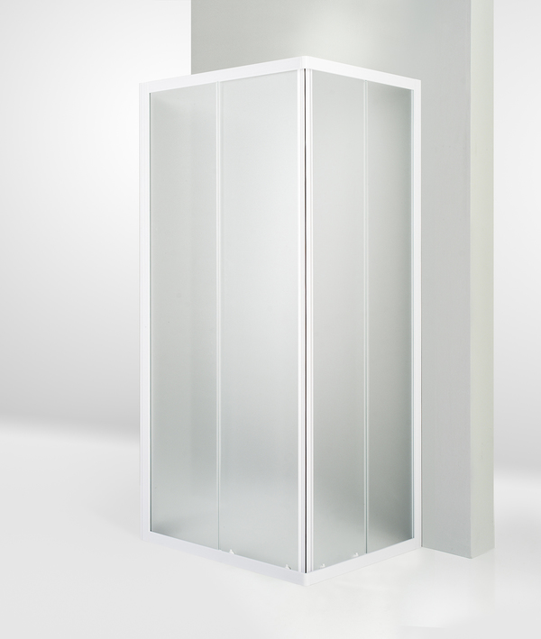 Box doccia 3 lati porta scorrevole 80x85x80 cm opaco bianco