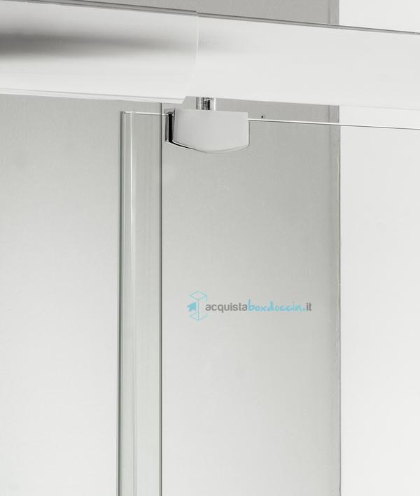 Box doccia angolare anta fissa porta battente 70x60 cm trasparente