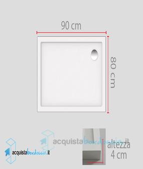 Piatto Doccia 80x90 In Ceramica.Piatto Doccia 80x90 Cm Altezza 4 Cm