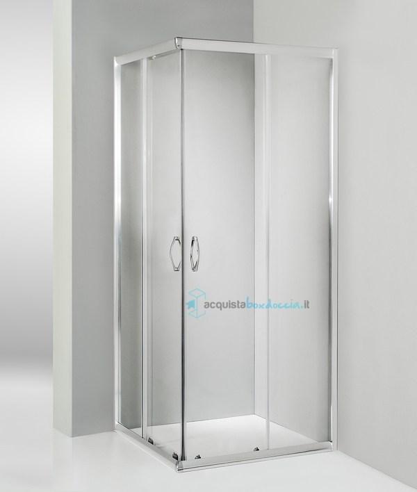 Cabina Doccia Altezza.Box Doccia Angolare Porta Scorrevole 80x80 Cm Trasparente Altezza 180 Cm