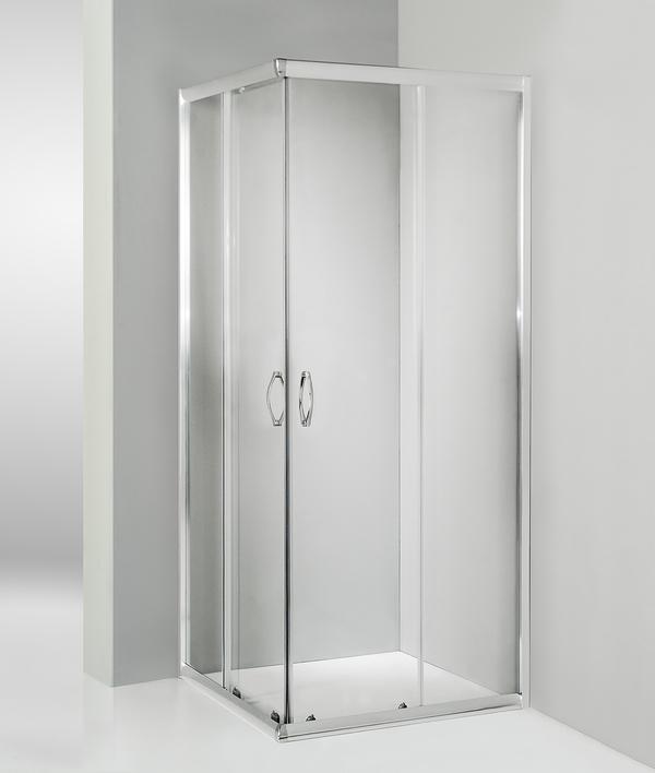 Box doccia angolare porta scorrevole 110x115 cm trasparente serie n
