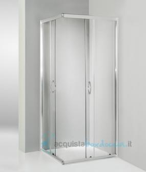 Box doccia angolare porta scorrevole 80x80 cm trasparente - Altezza box doccia ...