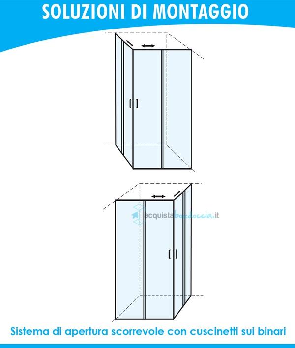 Altezza Standard Cabina Doccia.Vendita Box Doccia Angolare Porta Scorrevole 80x80 Cm Trasparente