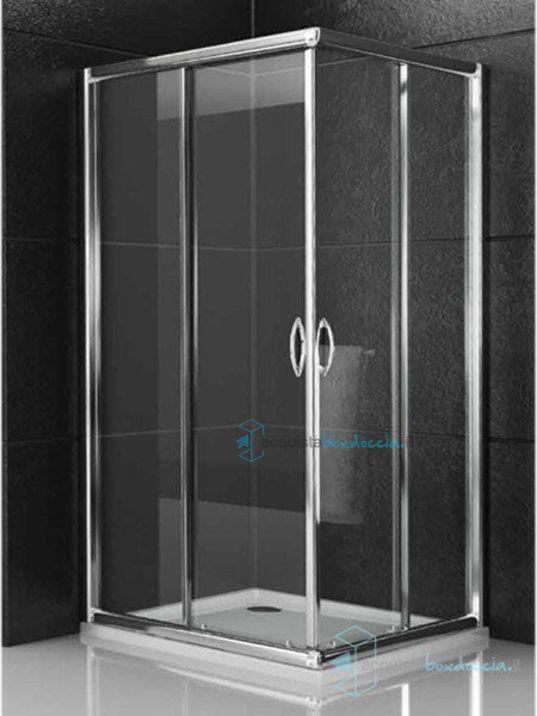 Vendita cabina box doccia angolare porta scorrevole 75x75 cm opaco 6 mm serie x - Porta cabina doccia ...