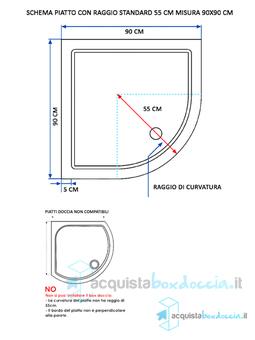 Cabina Doccia Angolare Misure.Box Doccia Semicircolare 90x90 Cm Opaco