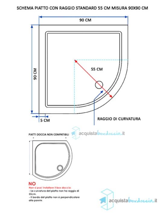 Box Doccia Dimensioni Standard.Box Doccia Semicircolare 90x90 Cm Opaco