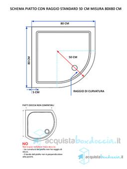 Box Doccia Altezza Su Misura.Piatto Doccia 90x90 Cm Altezza 5 Cm In Resina Acrilico Semicircolare
