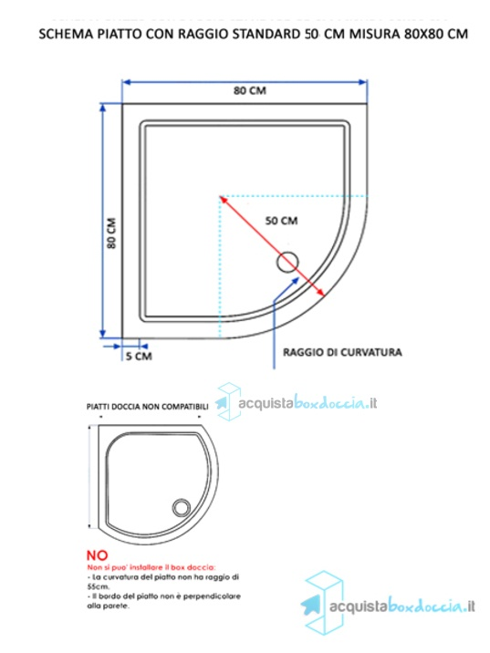 Misure Box Doccia.Box Doccia Semicircolare 80x80 Cm Trasparente