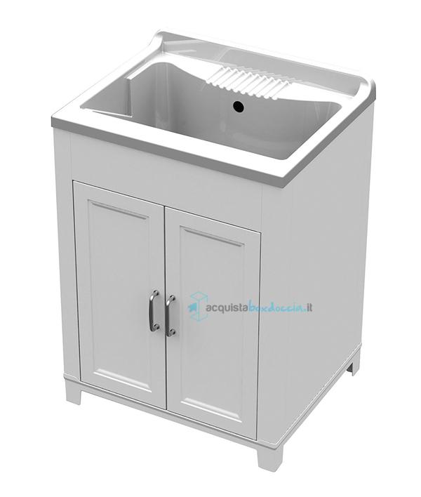 Vendita mobile bagno lavanderia lavatoio con lavello in resina bianca 45x50x85h - Lavello bagno con mobile ...