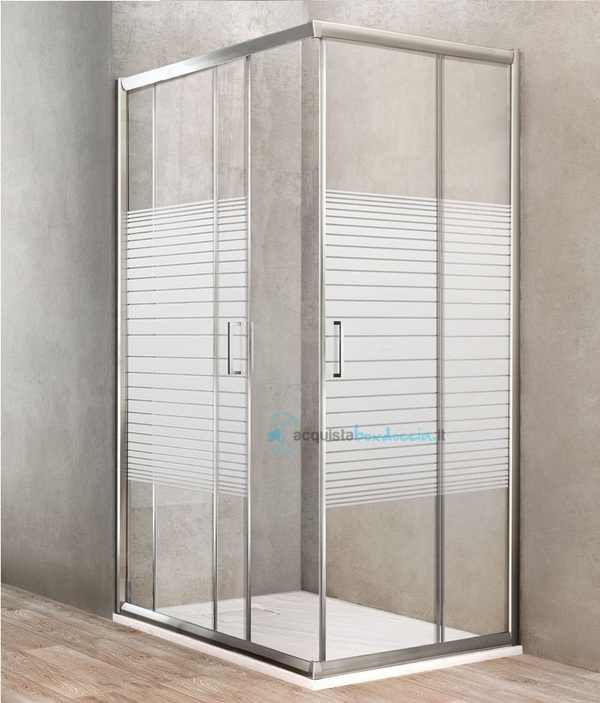 Porta Per Cabina Doccia.Box Doccia Angolare Porta Scorrevole 75x75 Cm Serigrafato