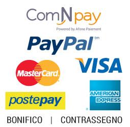 Metodi di pagamento: Paypal, bonifico, carte di credito e contrassegno