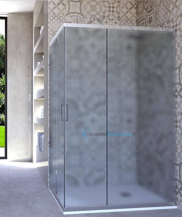 Vendita box doccia angolare porta scorrevole 70x90 cm opaco ...