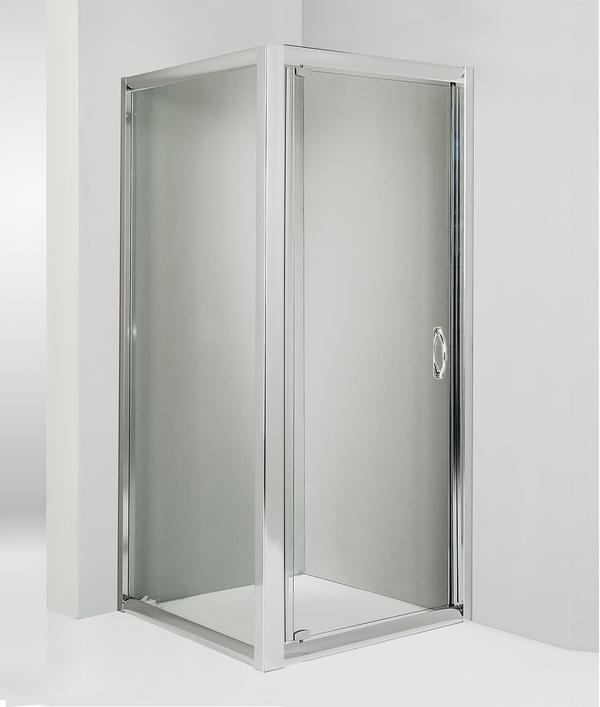 Box doccia angolare anta fissa porta battente 70x90 cm trasparente