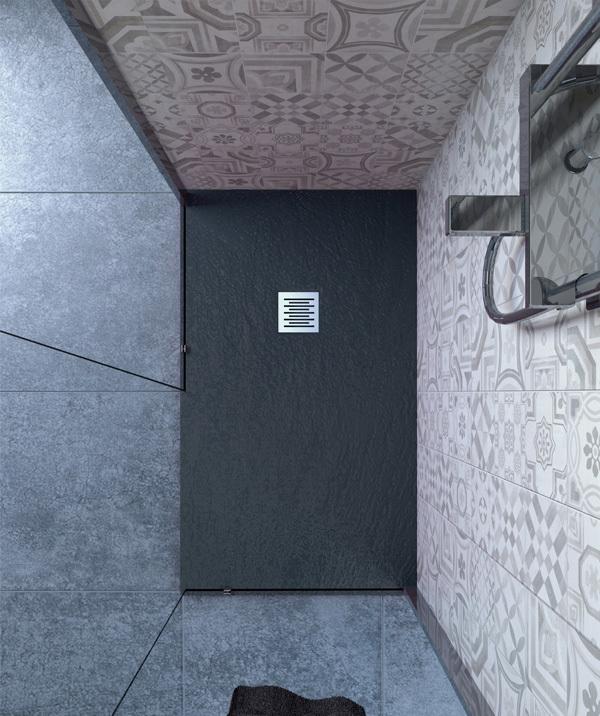 Piatto doccia 60x160 cm altezza 2.5 cm resina antracite
