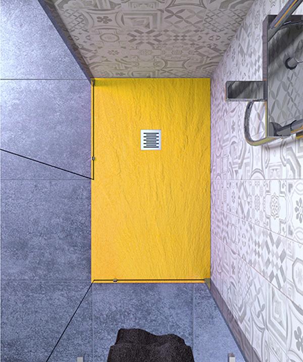 Piatto doccia 100x140 cm altezza 2.5 cm resina giallo