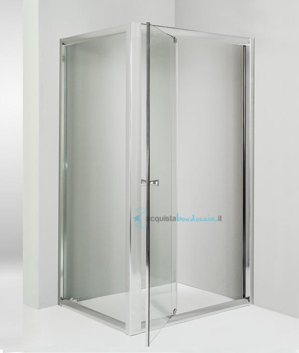 Box doccia angolare anta fissa porta battente 75x80 cm - Box doccia porta battente ...