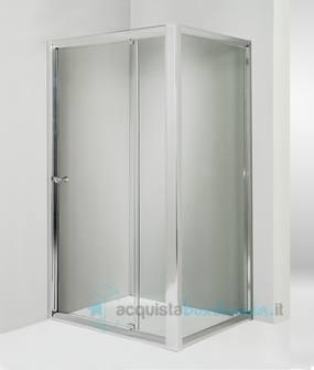Box doccia angolare anta fissa porta battente 75x80 cm - Montaggio porta battente ...