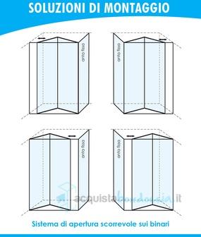 Box doccia angolare anta fissa porta soffietto 70x100 cm opaco - Montaggio porta a libro effebiquattro ...