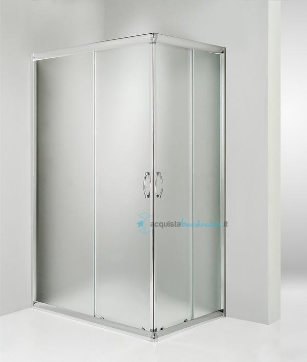 Box doccia angolare porta scorrevole 60x80 cm opaco - Piatto doccia 140x90 ...