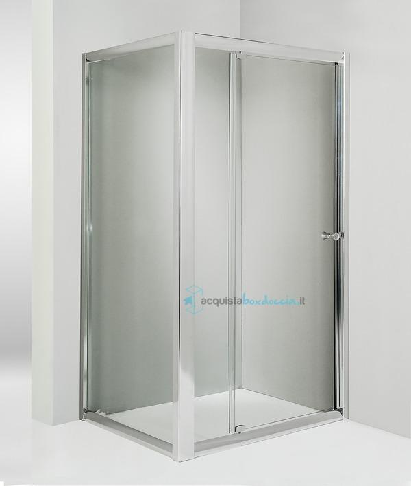 Box doccia angolare anta fissa porta battente 70x85 cm - Piatto doccia 70x85 ...