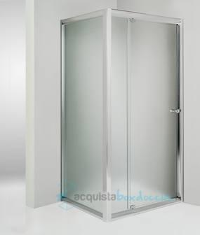 Box doccia angolare anta fissa porta battente 90x90 cm opaco - Montaggio porta battente ...