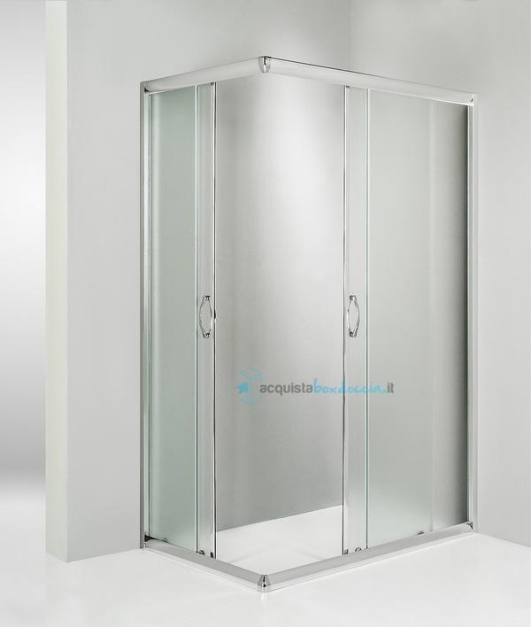 Box doccia angolare porta scorrevole 80x120 cm opaco for Porta finestra scorrevole 120 cm