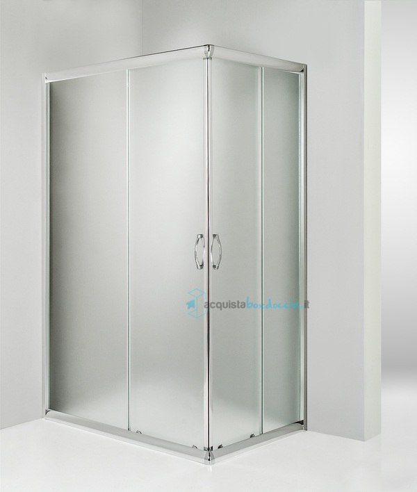 Box doccia angolare porta scorrevole 80x120 cm opaco - Porta doccia pieghevole ...