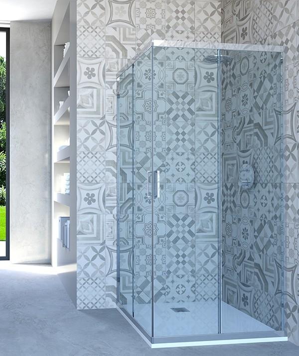 Box doccia angolare porta scorrevole 90x80 cm opaco altezza 180 cm