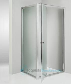 Box doccia angolare anta fissa porta battente 70x90 cm opaco - Box doccia porta battente ...