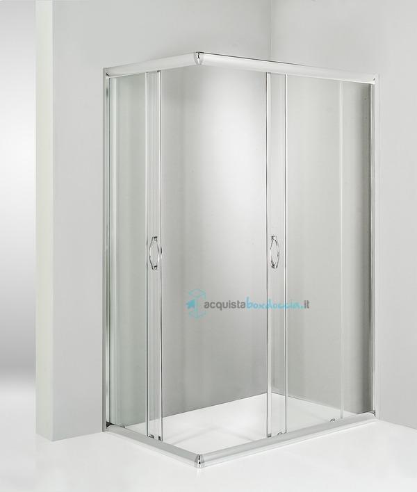 Box doccia angolare porta scorrevole 60x100 cm trasparente