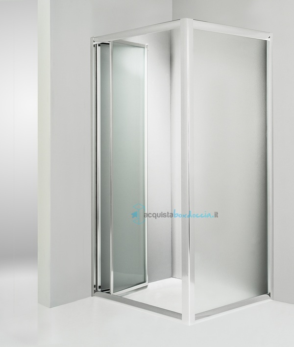 Box doccia angolare anta fissa porta soffietto 70x90 cm opaco - Porta doccia soffietto ...