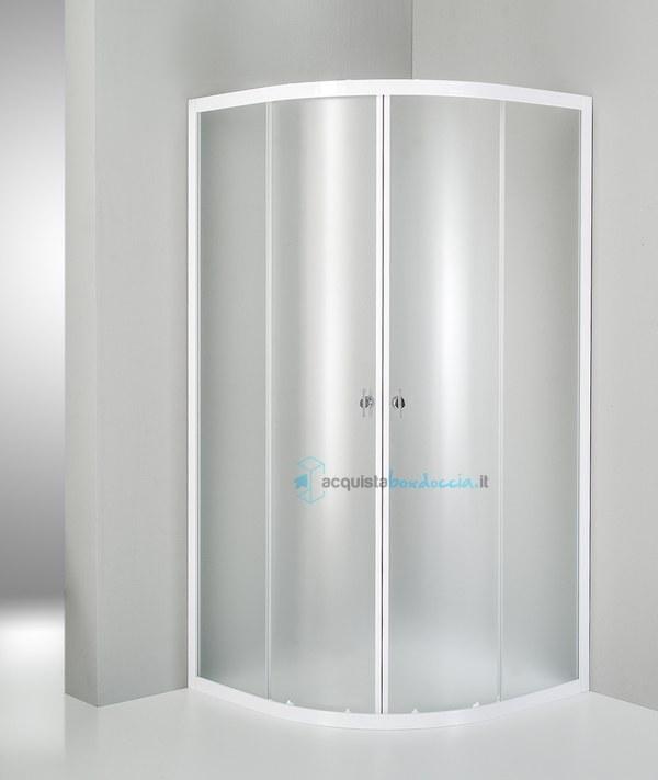 vendita box doccia semicircolare 80x80 cm opaco bianco. Black Bedroom Furniture Sets. Home Design Ideas
