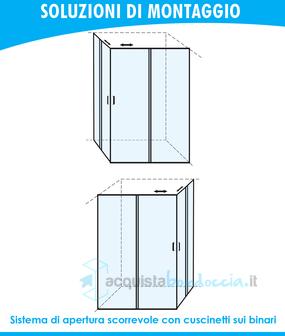 BOX DOCCIA ANGOLARE PORTA SCORREVOLE 70X80 CM OPACO